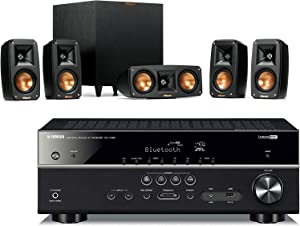 Klipsch Reference Theater Pack 5.1 Surround Sound System Bundle with Yamaha RX-V385 5.1-Channel 4K Ultra HD Network A/V Receiver with Bluetooth - Black