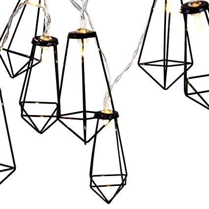 Lewondr String Lights Geometric Black Diamond Led Metal Fairy Lights