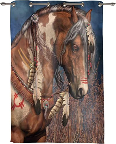 Horse Themed Bohemian Ethnic Darkening Blackout Window Curtains 96 inch Length Grommet Blocking Treatments Drapes Thermal Insulated Panel - the best window curtain panel for the money