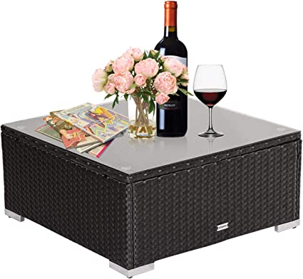 Amazon.com : Kinbor Patio Rattan Coffee Table Outdoor Furniture Wicker Side Table With Glass Top : Garden & Outdoor