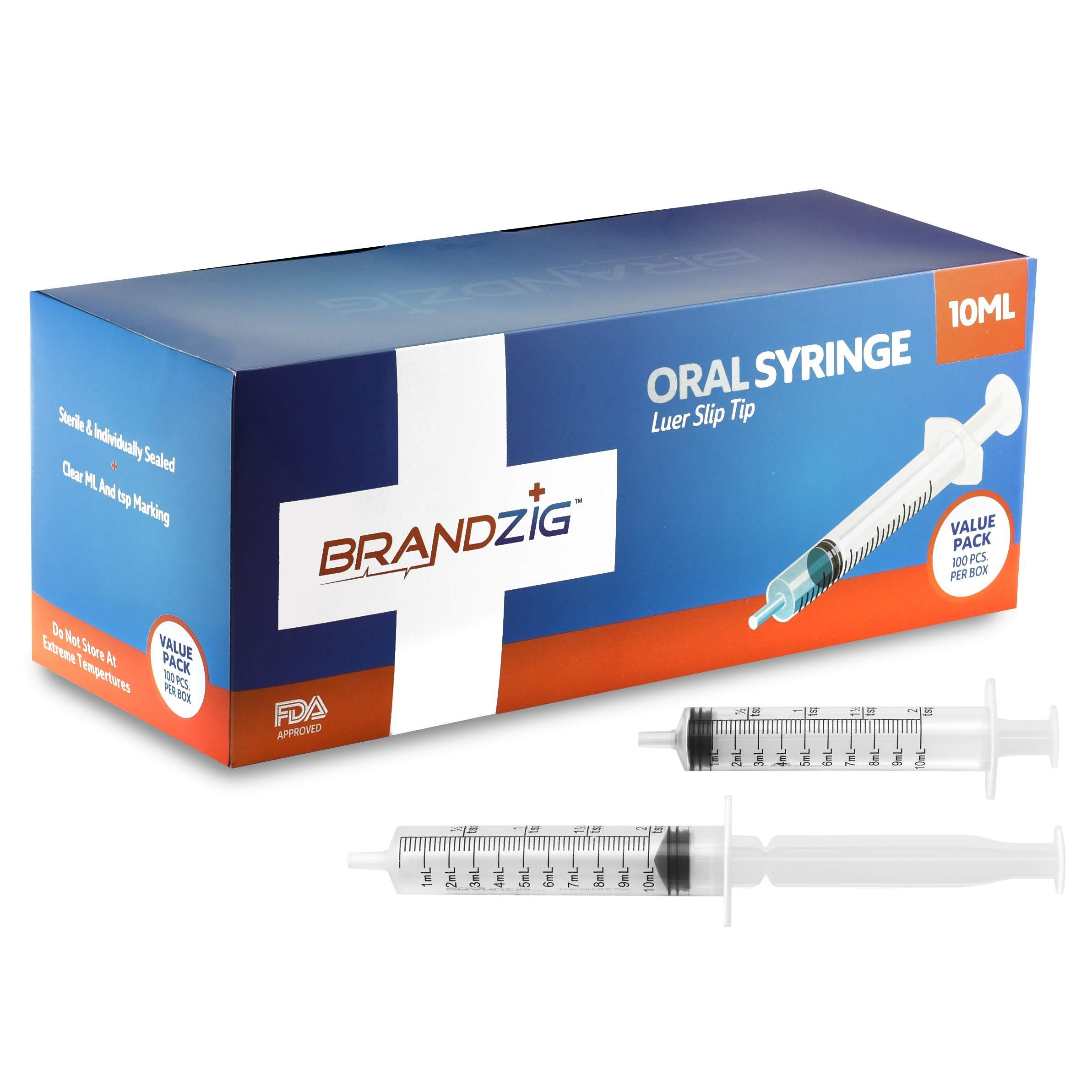10ml Oral Syringes - 100 Pack - Luer Slip Tip, No Needle, FDA Approved, Individually Blister Packed - Medicine Administration for Infants, Toddlers and Small Pets (No Cover)