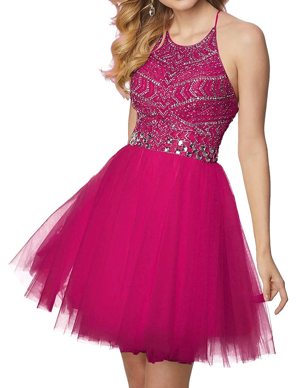 Fuchsia Short Homecoming Dresses Tulle Halter Cocktail Prom Gowns Beads Formal Evening Party Dress