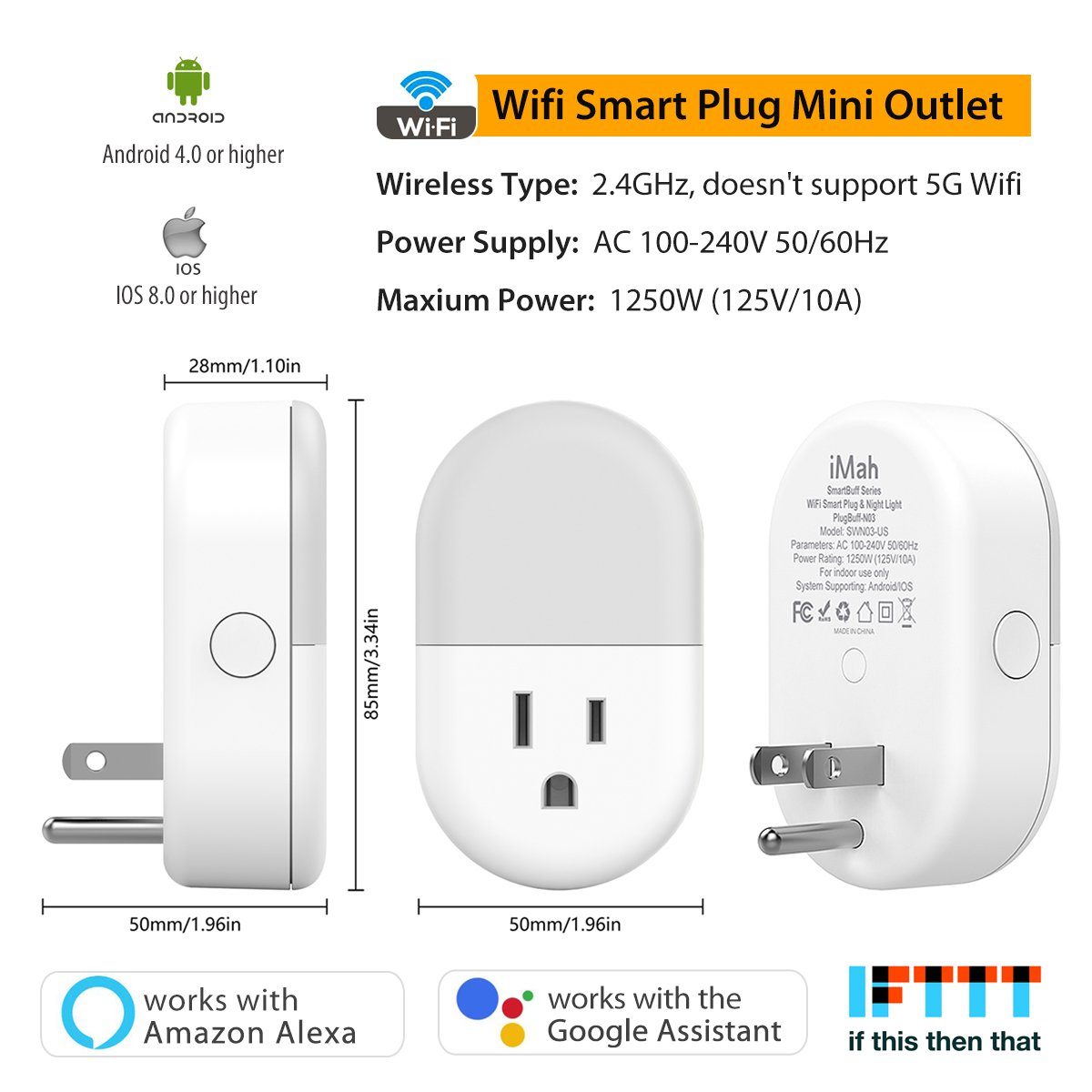 iMah Night Light Plug-in, Smart Plug works with Alexa Google Assistant IFTTT, WiFi Smart Plug Mini Outlet Socket control your Devices from Anywhere (4-Pack) by iMah (Image #3)
