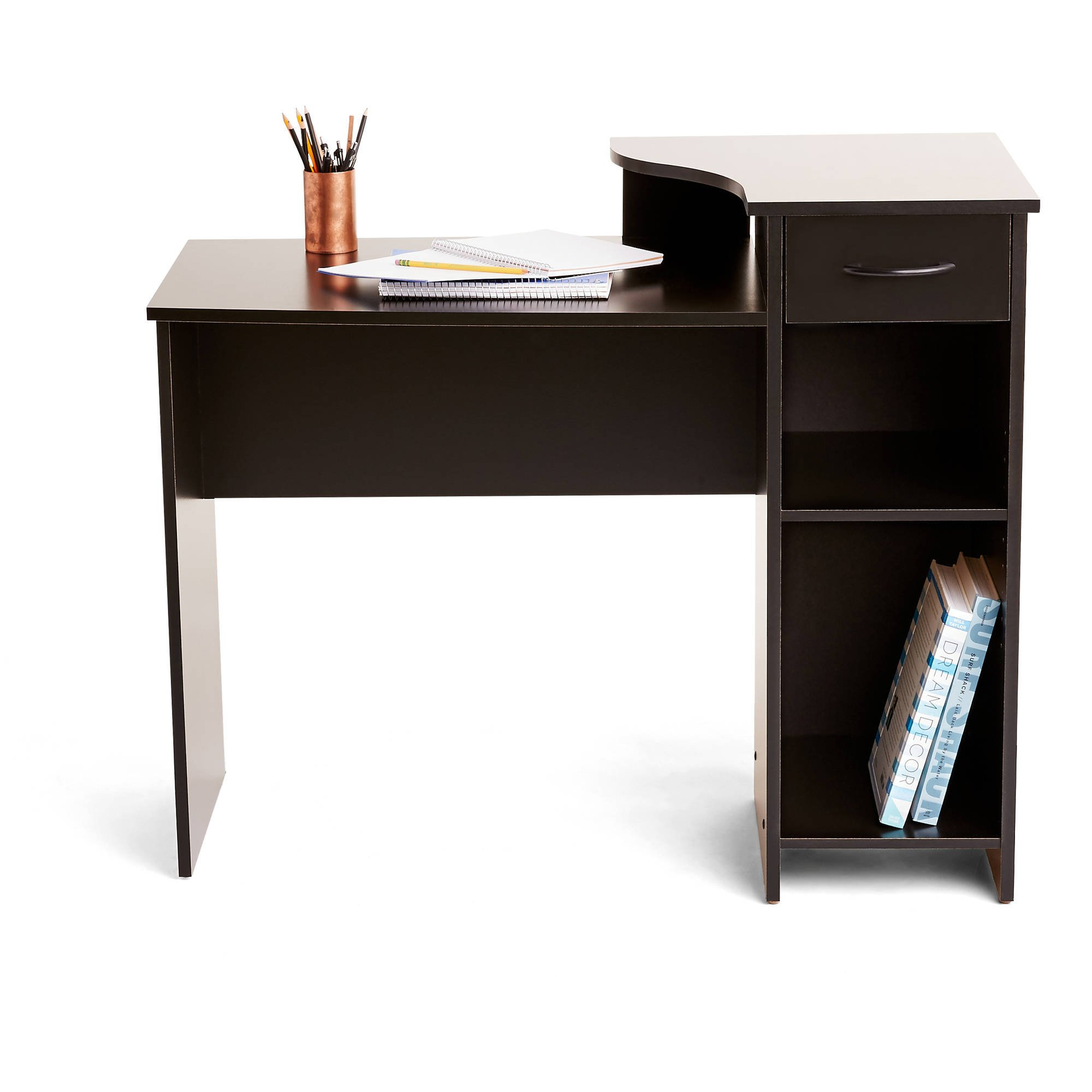 Adjustable Storage Shelf and Easy Gliding Drawer Student Desk in Solid Black