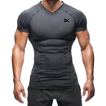 51ebf0df3d054 Broki Mens Gym Muscle Fit T Shirts, Running Compression Tops Baselayer  Workout Fitted Short Sleeve Shirt