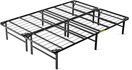 intelliBASE Lightweight Easy Set Up Bi-Fold Platform Queen Metal Bed Frame,Black