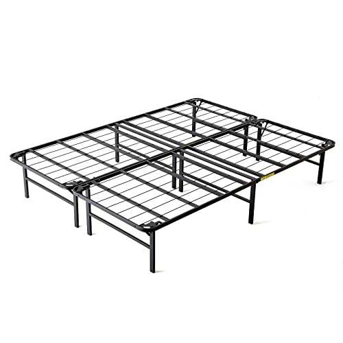 intelliBASE Lightweight Easy Set Up Bi-Fold Platform Queen Metal Bed Frame,Black