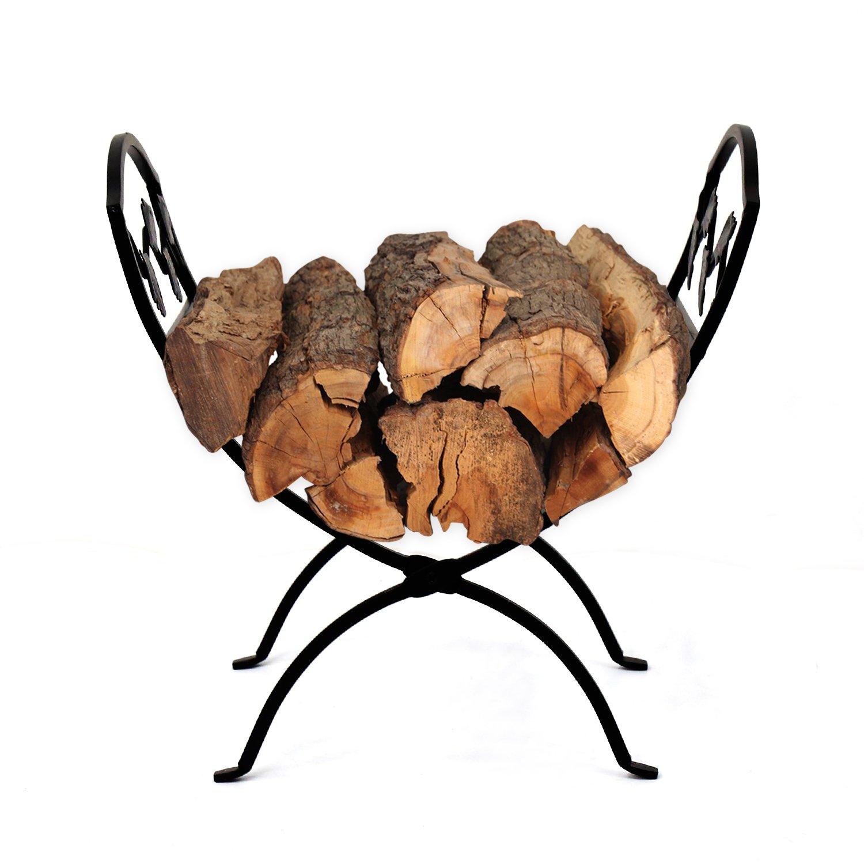 Kinbor Indoor/Outdoor Foldable Firewood Log Rack Leaf Folding Log Storage for Fireplace Black