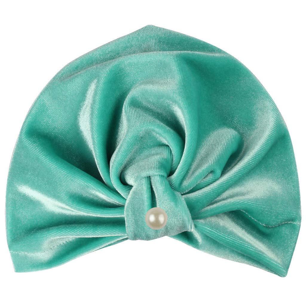 MALLOOM Newborn Baby Boy Girl Pearls Pleuche Knotted Hat Beanie Cap Headwear Green