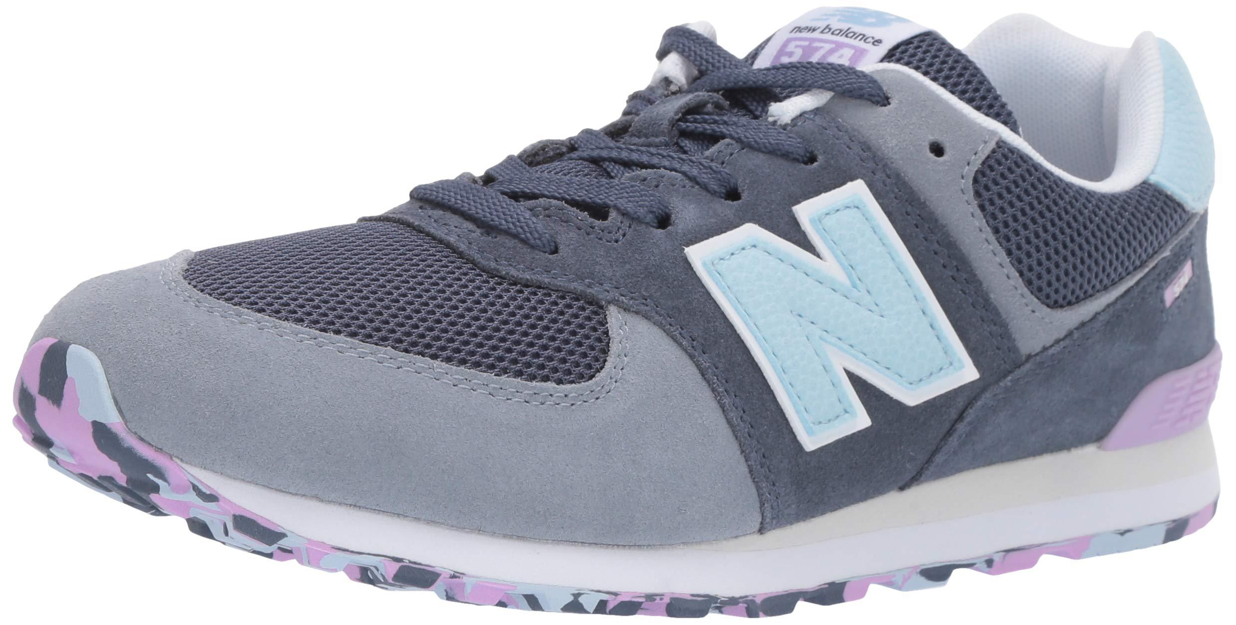 New Balance Boys' Iconic 574 Sneaker Vintage Indigo/Dark Violet glo 1 M US Little Kid
