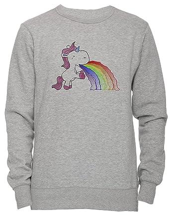 Vómito Arco Iris Unicornio Unisexo Hombre Mujer Sudadera Jersey Pullover Gris Todos Los Tamaños Unisex Mens Womens Jumper Sweatshirt Grey All Sizes: ...
