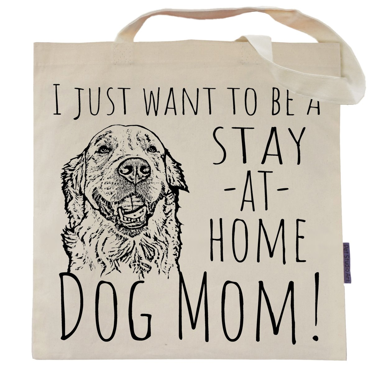 Stay At Home Dog Mom Eco Friendly Tote Bag by Pet Studio Art