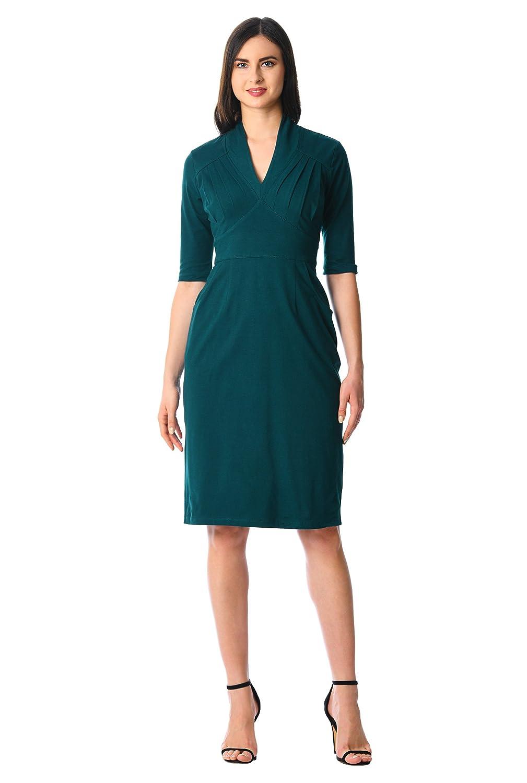 1940s Plus Size Dresses | Swing Dress, Tea Dress eShakti Womens Feminine Pleated Cotton Knit Sheath Dress $59.95 AT vintagedancer.com