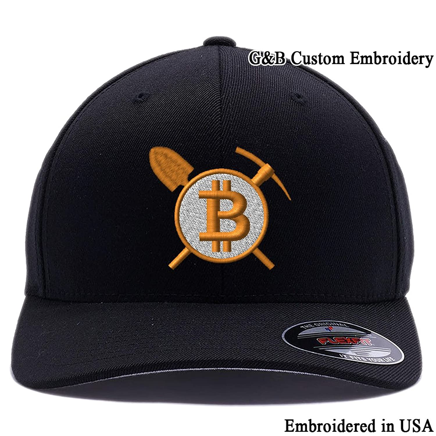 36a57d5ed1360 Bitcoin Mining Cap. Bitcoin Digital Currency Logo Embroidered. Custom Hat  at Amazon Men s Clothing store