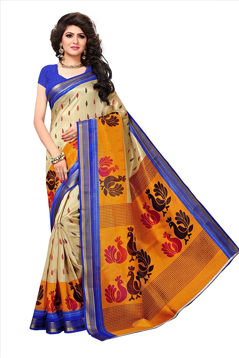 Shonaya Womens Party Wear Orange Colour Bhagalpuri Silk Printed Saree RTBHZ-8022