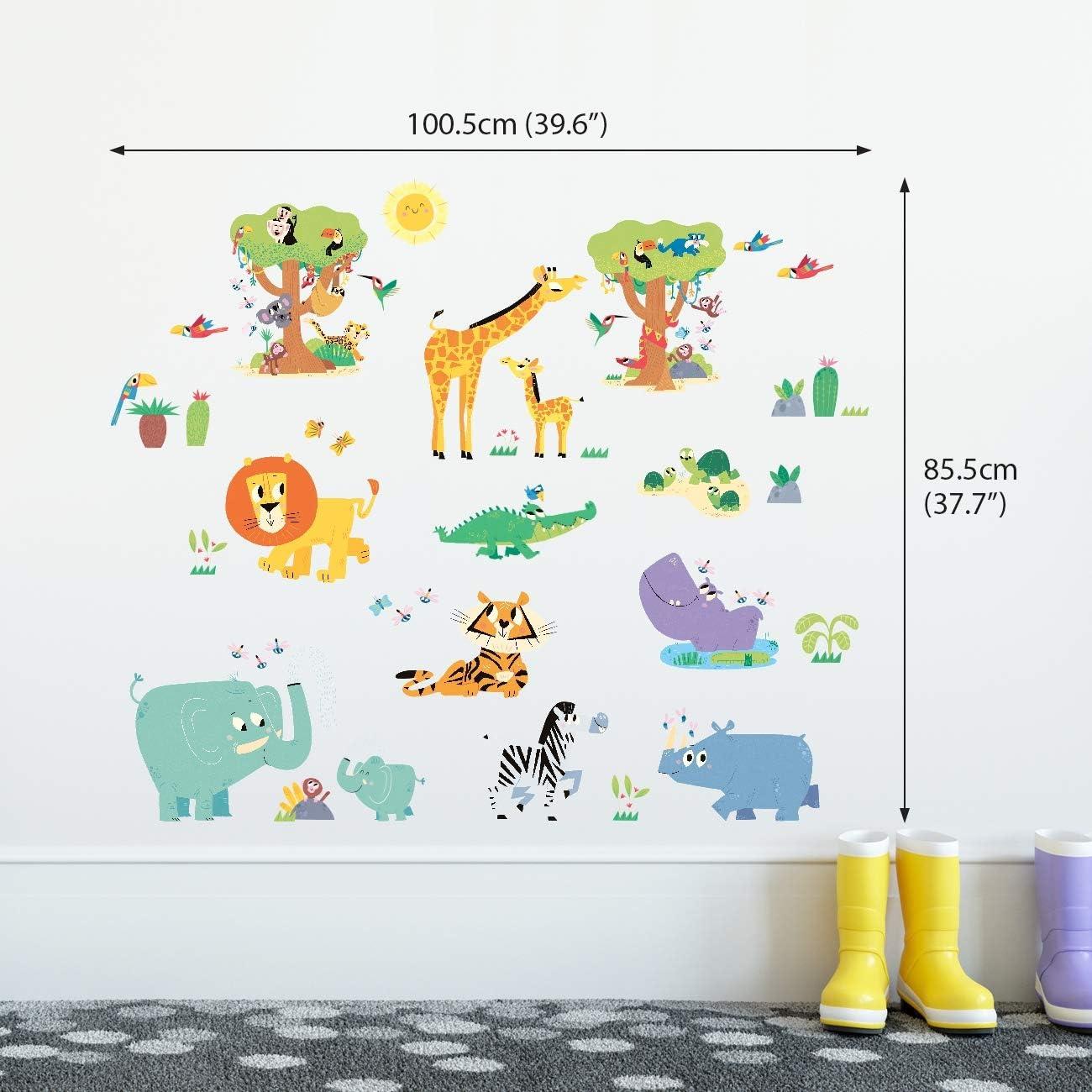 DECOWALL DW-1909 Joyeux animaux de la jungle Autocollants Muraux Mural Stickers Chambre Enfants B/éb/é Garderie Salon