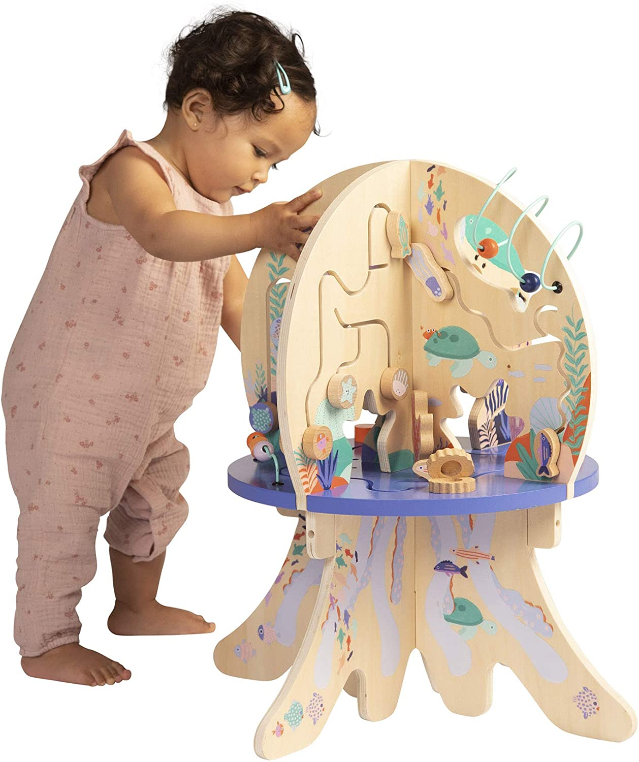 Peekaboo Mirror and Bead Runs Manhattan Toy Deep Sea Adventure Wooden Toddler Activity Centre with Spinning Gears Gliders