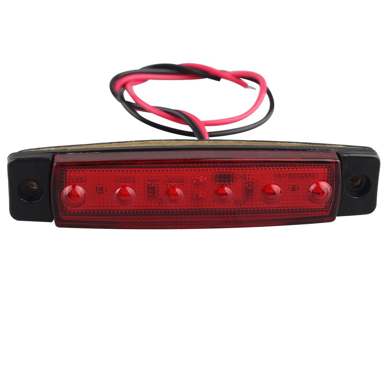 Blanc Rouge 12/V Del C/ôt/é Feux de gabarit Position d/éclairage Avant Arri/ère C/ôt/é Indicateur de Lampes pour remorque Camion Caravane Camper Van Camion Bus Bateau Tracteur. Fushengda 10/Pcs