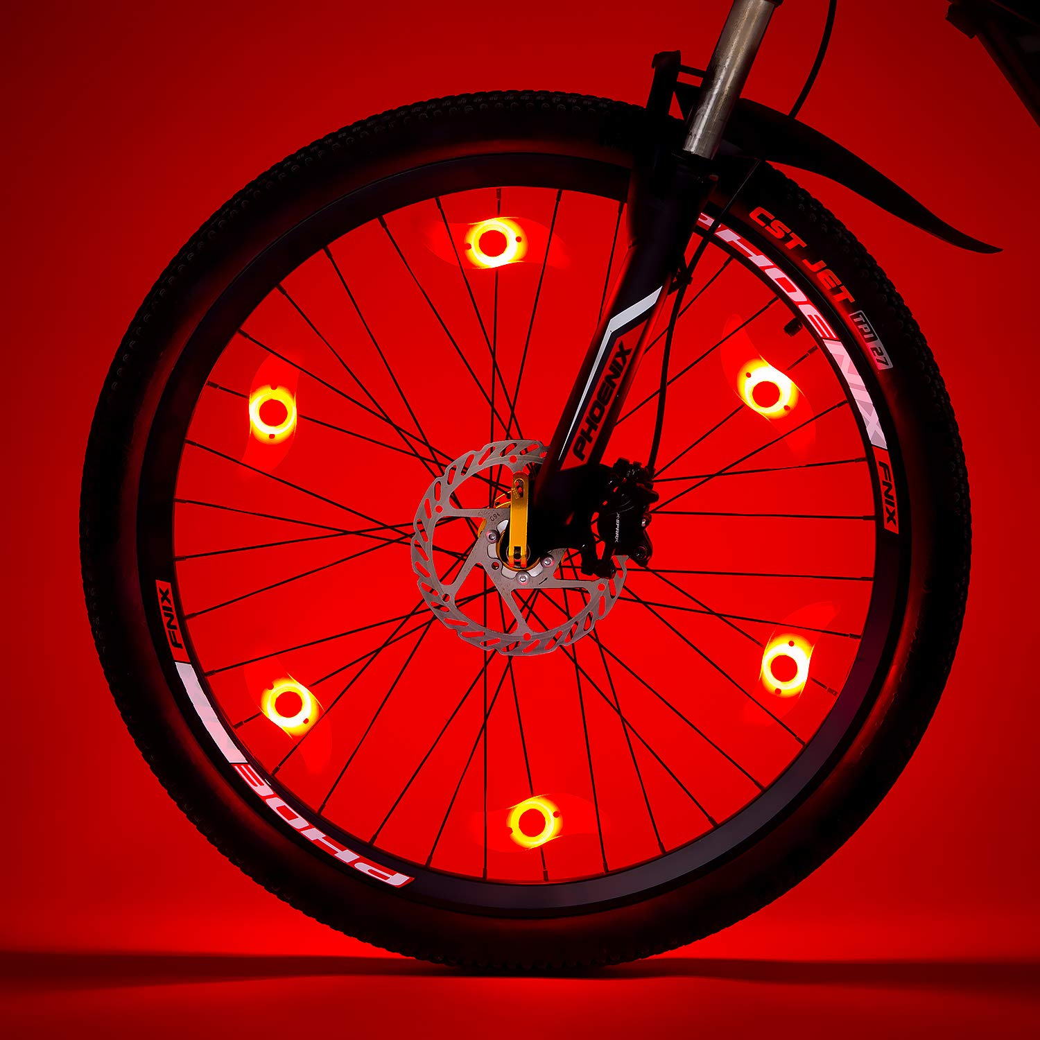 Willceal Bike Spoke Light 6PCS, Bike Wheel Light,Tyre Wire Right with 6 LED Flash Model Neon Lamps,Bike Safety Alarm Light. (Red) by Willceal (Image #1)