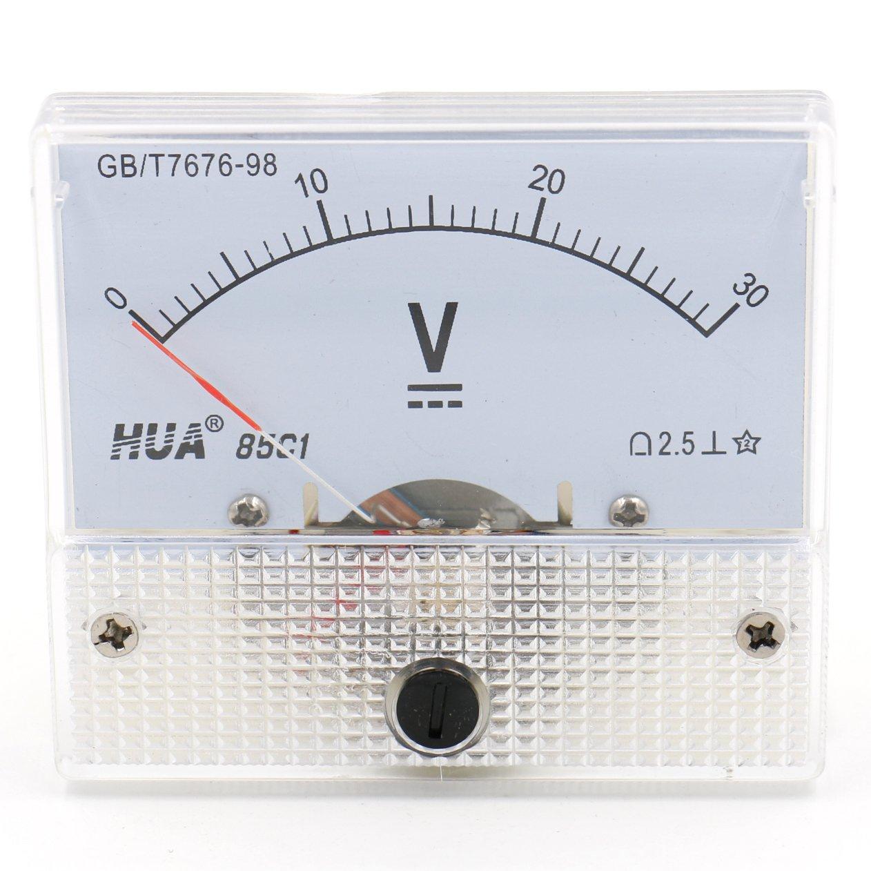 Voltmeter 85C1-30V von Heschen mit Montageblende Pr/üfger/ät DC 0 rechteckig Genauigkeitsklasse 2,5,/wei/ß 30/V 30/V Spannungsmesser