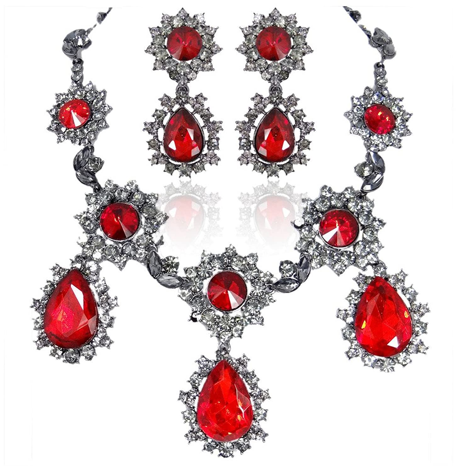 EVER FAITH Black-Tone Austrian Crystal Snowflake Party Jewelry Set Red