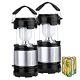(2 Pack) 2-in-1 Camping Lantern, TopElek Portable LED Flashlight Lamp Light for Camping, Fishing, Emergency Power Outage, Outdoor and Indoor Use with 6 AA Batteries