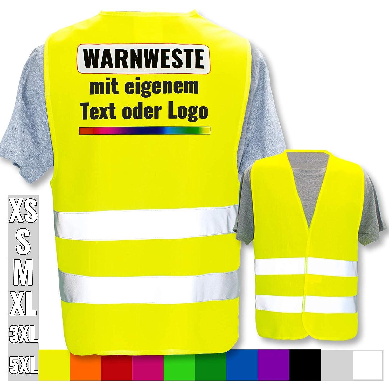 Farbe /& Gr/ö/ße:Grau//Gr/ö/ße 5XL Warnweste mit eigenem Aufdruck selbst gestalten Bedruckt mit Name Text Bild Logo Firma Position /& Druckart:R/ücken//Standard-Druck