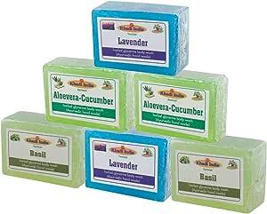 Khadi la India Bharat lavanda albahaca Aloevera pepino Glicerina Jabones hechos a mano Combo Pack De 6x125gm (envases pueden ser diferentes): Amazon.es: Belleza