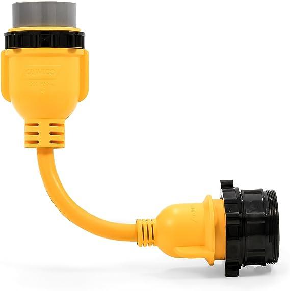 50 Male 30-Amp Female Locking End 12 Marine PowerGrip Dogbone Camco 55625 Electrical Adapter