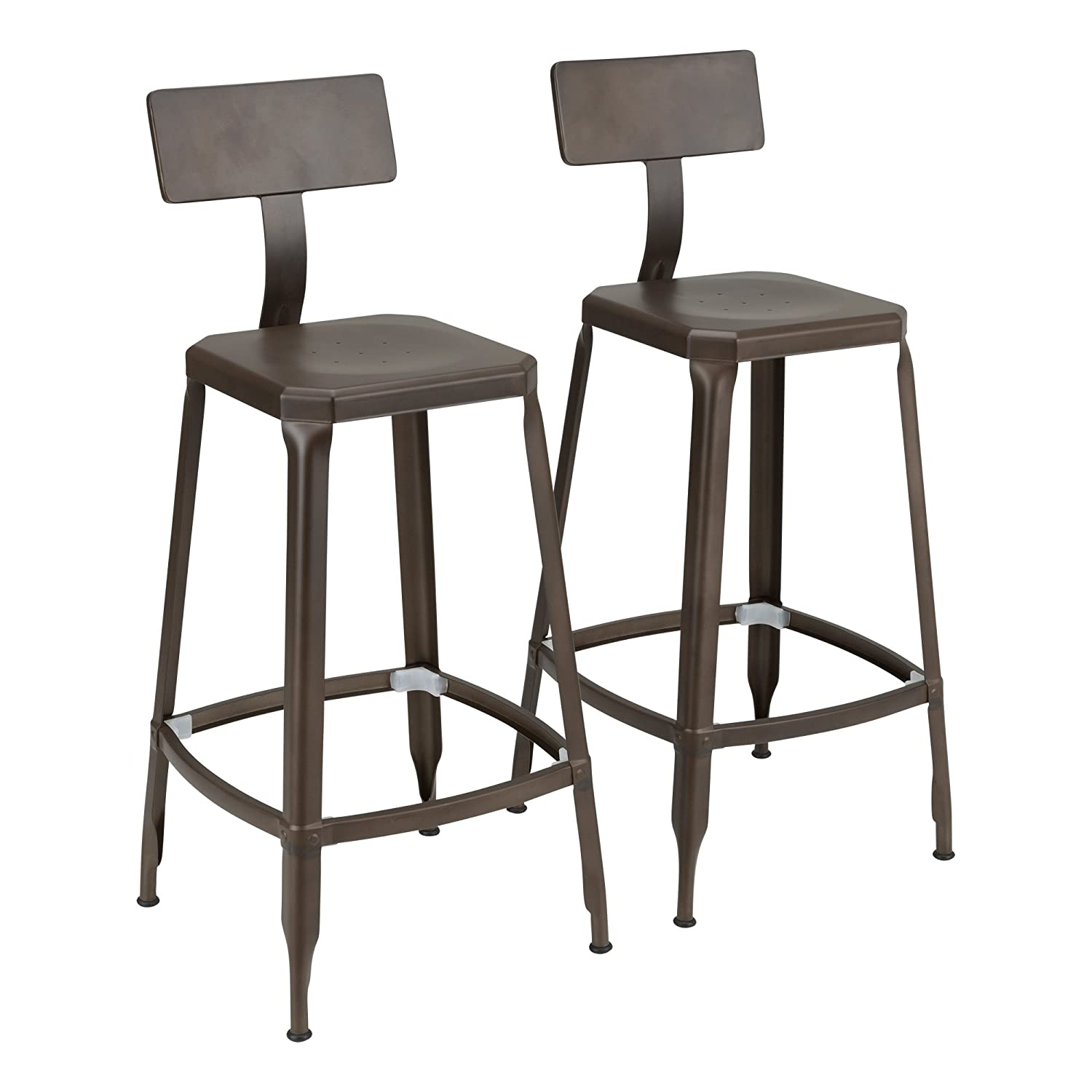 Fat Catalog ALT-GNE-1001BZ-SO Square Modern Industrial Metal Bar Stools w/Back, Bronze (Pack of 2)