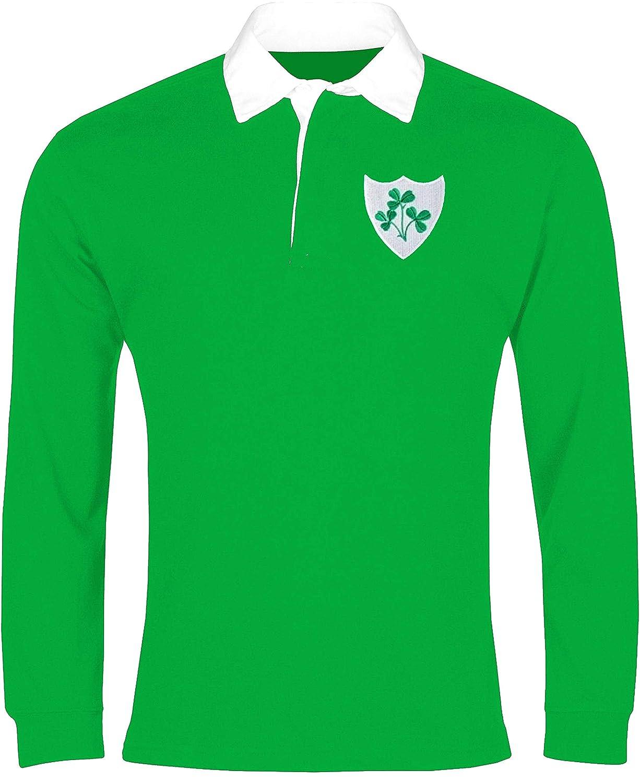 オールドスクールフットボールアイルランド1970年代長袖ラグビーシャツ刺繍ロゴサイズXL