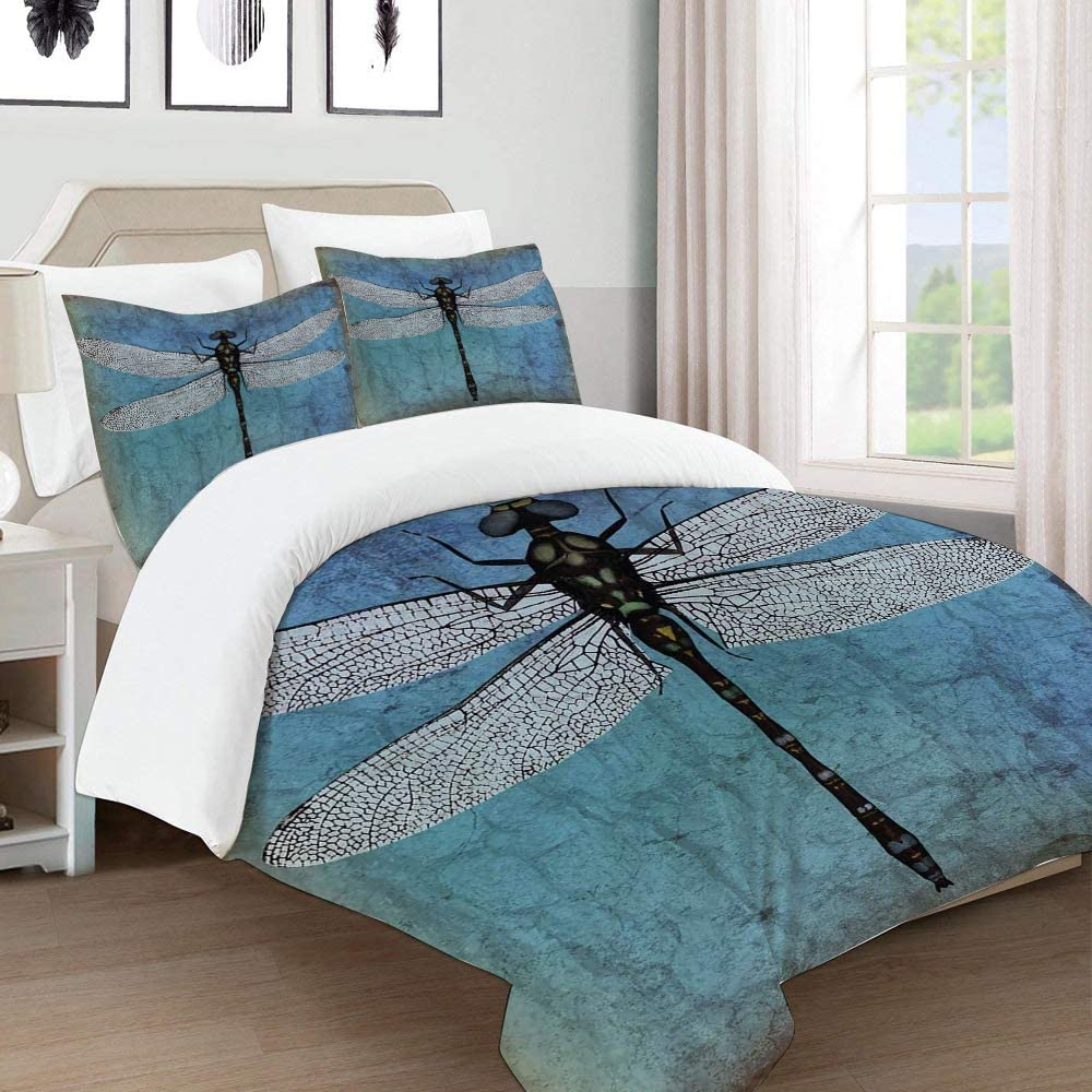 Diircyb Duvet Cover Set Bedding Grunge Vintage Old Backdrop And Dragonfly Bug Ombre Image For Single Double King Bed Made Of Ultra Soft Microfiber Amazon Co Uk Kitchen Home
