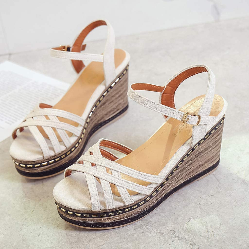 Summer Espadrille Platforms PU Leather Cute Shoes GreatGiftList Womens Open Toe Strappy Sandal