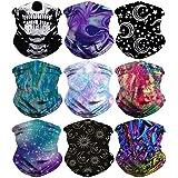 Youmymine 9 Pack Bandanas Unisex Outdoor Face Cover Headband Scarf Neck Windproof Sun Protection Bandana (Multicolor)