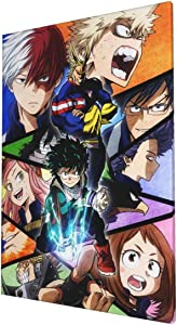 GIPHOJO MyHeroAcademia DIY Art Painting Printed Poster Wall Pictures Home Decor Stretched and Framed Ready to Hang for Bedroom,Living Room,Bathroom Picture Printing Framed Home 16x24 Inches