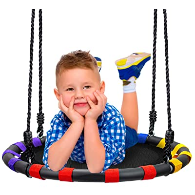 Sorbus Spinner Swing – Kids Round Mat Swing – Great for Tree, Swing Set, Backyard, Playground, Playroom – Accessories Included [New Improved 2020 Design!] (24 Inch, Multi-Color Mat Seat): Toys & Games