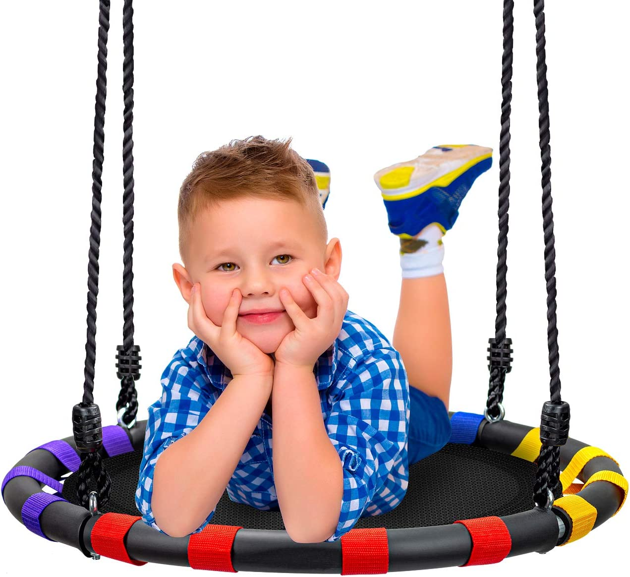 Sorbus Spinner Swing Kids Round Mat Swing Great for Tree, Swing Set, Backyard, Playground, Playroom Accessories Included New Improved 2020 Design 24 Inch