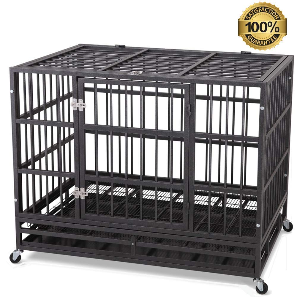JY QAQA PET 48'' Heavy Duty Dog Cage-Strong Folding Metal Crate Kennel and Playpen for Medium and Large Dogs with Double Door, Two Prevent Escape Lock, Tray and Rolling Wheels