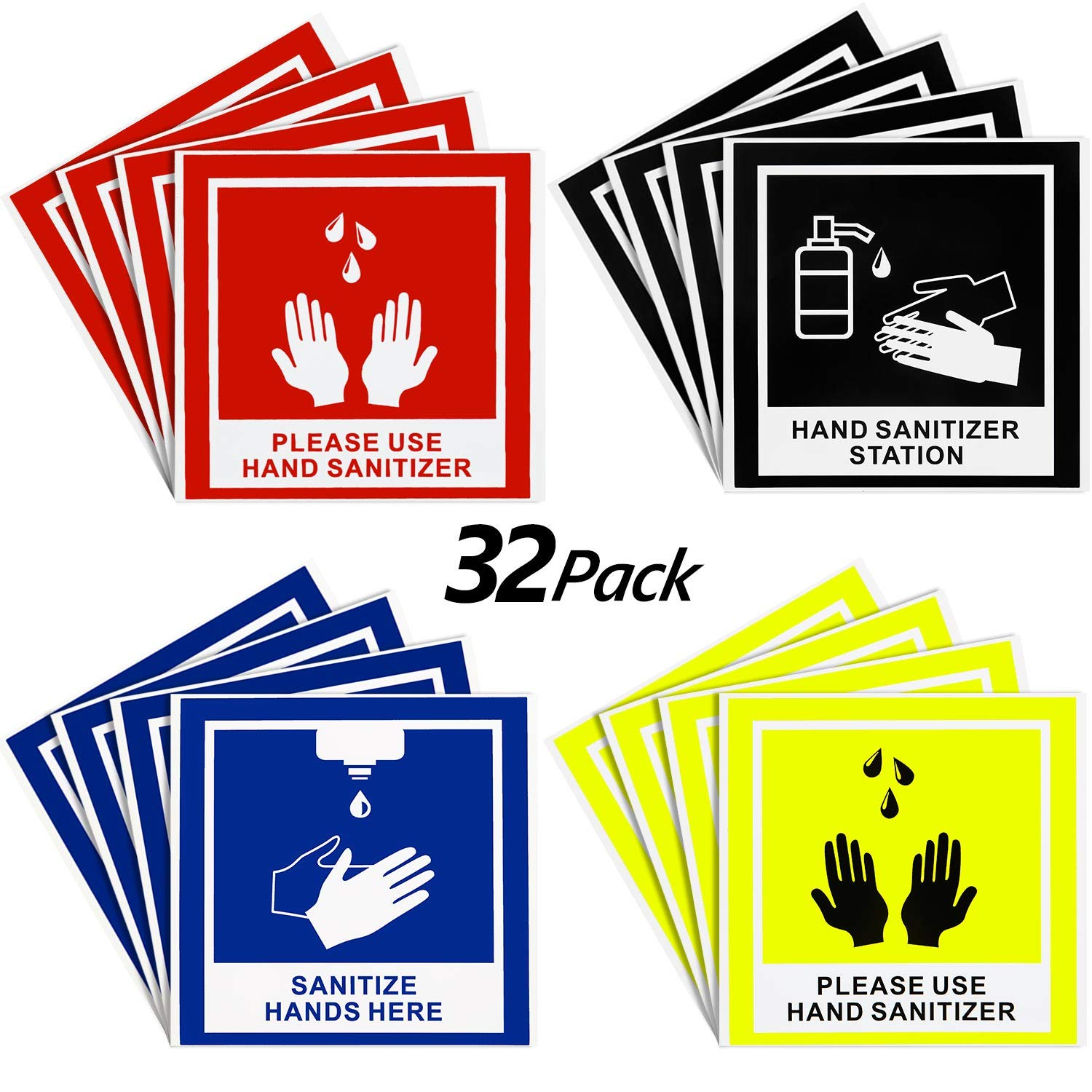 Hand Sanitize Signs Sanitize Hands Here Stickers 5.7 x 5.7 Inch for Restaurant Sinks, Food Trucks, Kitchens and More, Weather Resistant Anti-Scratch Hand Washing Labels for Indoor Outdoor (32)
