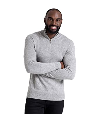 WoolOvers Pullover mit Reiverschluss am Ausschnitt aus Merinowolle- Kaschmirwolle für Herren Flannel, S