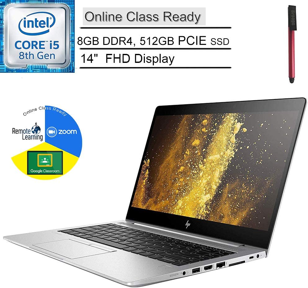 "HP EliteBook 840 G5 14"" FHD Business Laptop Computer_ Intel Quad-Core i5-8250U (Beat i7-7500U)_ 8GB DDR4_ 512GB PCIE SSD_ Online Class Ready_ Windows 10 Professional_ BROAGE 64GB Flash Drive"