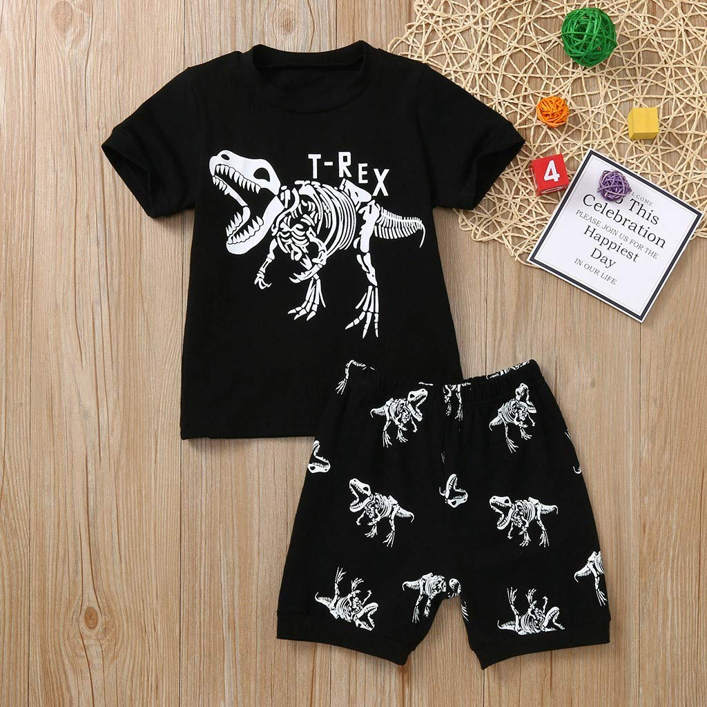 Children Kids Boys Cartoon Dinosaur Print Tops T-shirt+Shorts Pajamas Outfit Set
