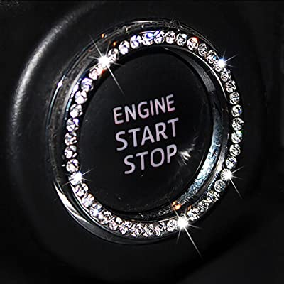 Chompoo Auto Bling Crystal Ring Emblem Sticker Rhinestone Car Key Knob Interior Bling Push Button Start Engine Ignition Button Auto Decoration Decal Unique Sparkly Vehicle Rings Accessories: Automotive