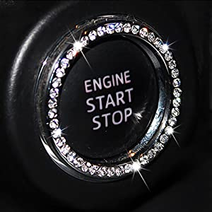 Chompoo Auto Bling Crystal Ring Emblem Sticker Rhinestone Car Key Knob Interior Bling Push Button Start Engine Ignition Button Auto Decoration Decal Unique Sparkly Vehicle Rings Accessories