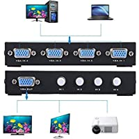 Duttek VGA 15HDF 4-Port 4 IN 1 OUT Switch Switcher Selector Box (1 Host 4 Displays / 4 Hosts 1 Display) four Way VGA Switch Video Switch for PC, Laptop, Desktop, Monitor, Projctor, TV