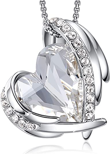 CDE Necklaces for Women 18K White Gold Plated Heart Pendants Necklace Embellished with Crystals from Swarovski Necklaces Jewelry Gift for Women Girls Mom