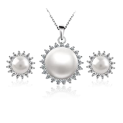 bb6561c7d Semia 925 Sterling Silver Freshwater Pearl Sunflower Earrings+Necklace  Jewellery Sets Studs Earring for Women: Amazon.co.uk: Jewellery