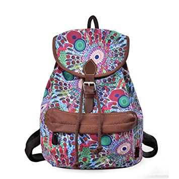 91b721d965c1 Douguyan Cute Lightweight Casual Backpack for Teenage Girls Women Print  Daypack(Green Peacock) 164