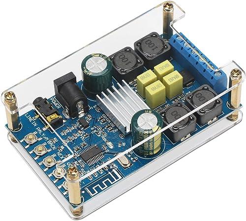 Bluetooth Amplifier Board, DROK Digital Amplifier Wireless BT 3.0 4.0 4.1 Audio Amp Board Headphone 2 Channel 50W 50W Bluetooth Speaker Board Small Amplifier Module with Case