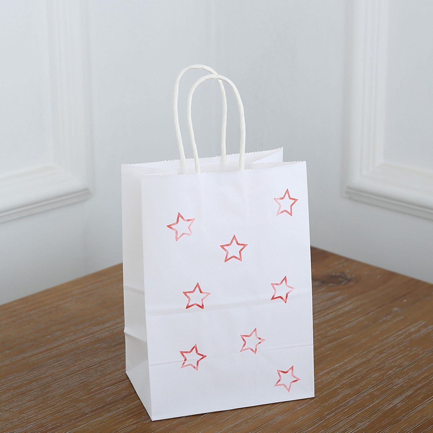 BagDream Small Kraft Paper Bags 50Pcs 5.25''x3.75''x8'', Party Bags, Shopping Bag, Kraft Bags, White Bags with Handles by BagDream (Image #6)